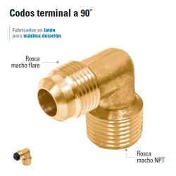 Codo Terminal a 90º para Gas