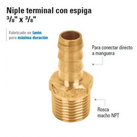 """Niple Terminal con Espiga 3/8"""""""
