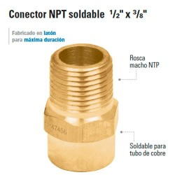 "Conector NTP Soldable 1/2"" x 3/8"""