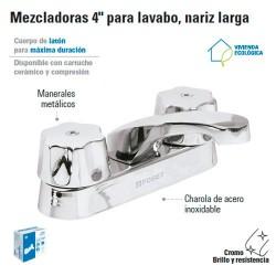 "Mezcladora 4"" para Lavabo Nariz Larga / Manerales Metalicos FOSET"