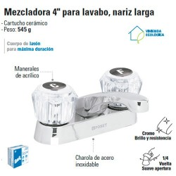 "Mezcladora 4"" para Lavabo Nariz Larga / Manerales de Acrilico FOSET"