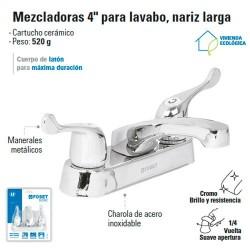 "Mezcladora 4"" para Lavabo Nariz Larga / Manerales de PalancaFOSET"