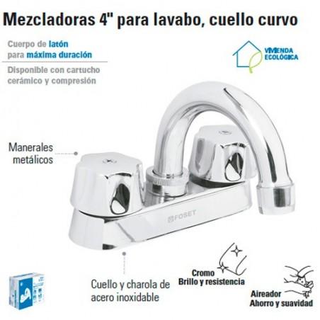 """Mezcladora 4"""" para Lavabo Cuello Curvo / Manerales Metalicos FOSET"""
