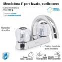 """Mezcladora 4"""" para Lavabo Cuello Curvo / Manerales de Acrilico FOSET"""