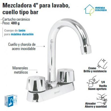 """Mezcladora 4"""" para Lavabo Cuello Tipo Bar / Manerales Metalicos FOSET"""