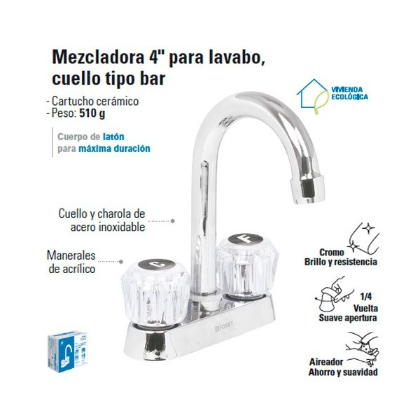 """Mezcladora 4"""" para Lavabo Cuello Tipo Bar / Manerales de Acrilico FOSET"""