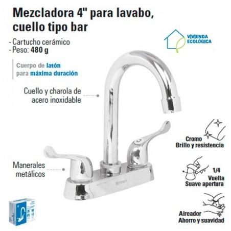 """Mezcladora 4"""" para Lavabo Cuello Tipo Bar / Manerales de palanca FOSET"""