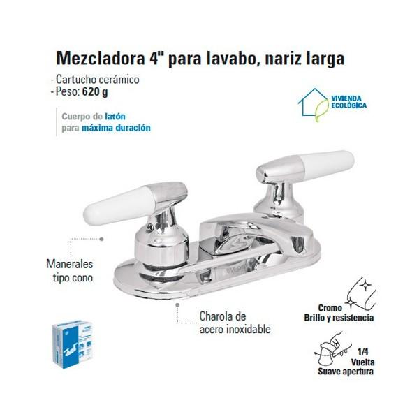 "Mezcladora 4"" para Lavabo Nariz Larga / Manerales tipo Cono FOSET"