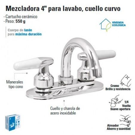 """Mezcladora 4"""" para Lavabo Cuello Curvo / Manerales Tipo Cono FOSET"""