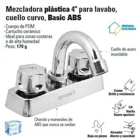 "Mezcladora Plastica 4"" Para Lavabo Cuello Curvo FOSET"