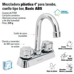 "Mezcladora Plastica 4"" Para Lavabo Cuello Tipo Bar FOSET"