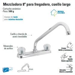 """Mezcladora 8"""" para Fregadero Cuello Largo / Manerales de Acrilico FOSET"""
