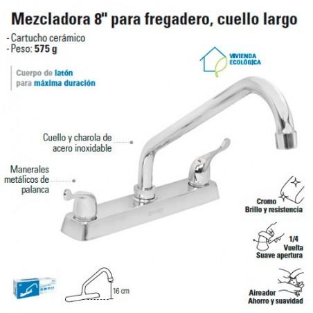 """Mezcladora 8"""" para Fregadero Cuello Largo / Manerales tipo Palanca FOSET"""