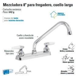"""Mezcladora 8"""" para Fregadero Cuello Largo / Manerales tipo Cono FOSET"""