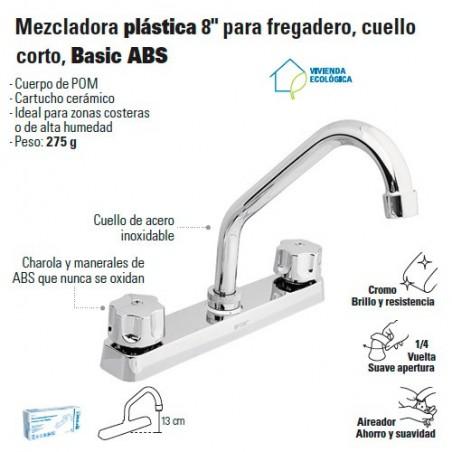 "Mezcladora Plastica 8"" para Fregadero Cuello Corto FOSET"