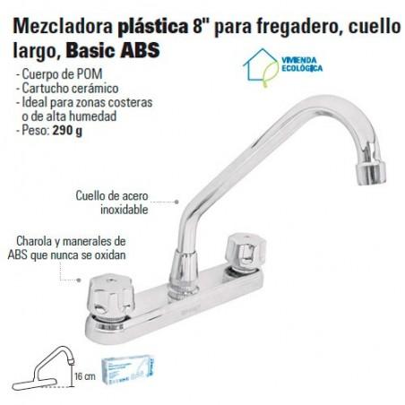 "Mezcladora Plastica 8"" para Fregadero Cuello largo FOSET"