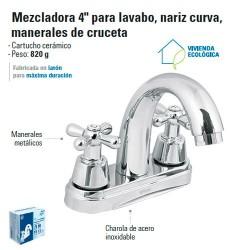 """Mezcladora 4"""" para Lavabo Nariz Curva / Manerales de Cruceta"""