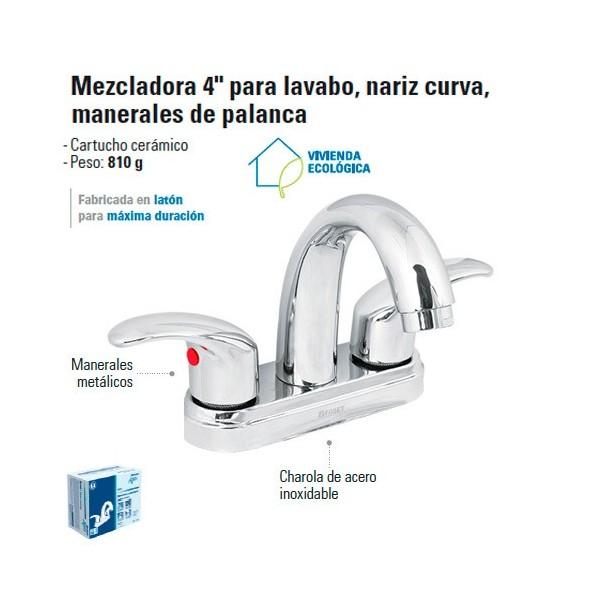 """Mezcladora 4"""" para Lavabo Nariz Curva / Manerales de Palanca"""