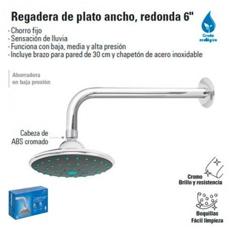 """Regadera de Plato Ancho Redonda 6"""""""