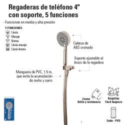 """Regadera de Telefono 4"""" con Soporte, 5 Funciones"""