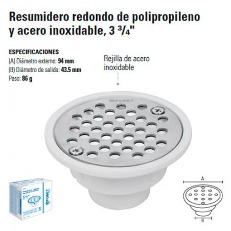 """Resumidero Redondo de Polipropileno y Acero inoxidable 3 3/4"""""""