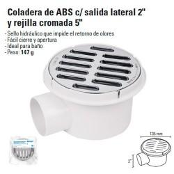 """Coladera de ABS con Salida Lateral 2"""" y Rejilla Cromada 5"""""""