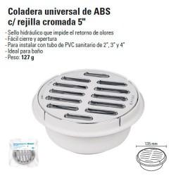 """Coladera Universal de ABS con Rejilla Cromada 5"""""""