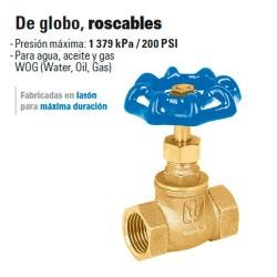Valvula de Globo Roscable