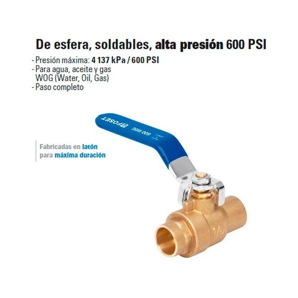 Valvula de Esfera, Soldable, Alta Presion 600 PSI