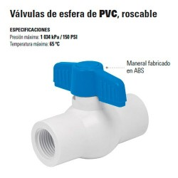 Valvula de Esfera de PVC Roscable