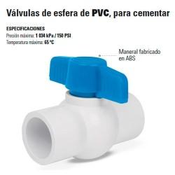 Valvula de Esfera de PVC para Cementar