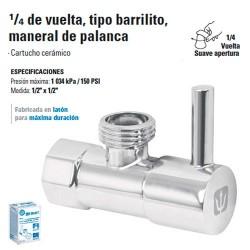 Llave Angular 1/4 de Vuelta sin Contratuerca, Maneral de Palanca