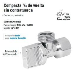 Llave Angular Compacta 1/4 de Vuelta sin Contratuerca