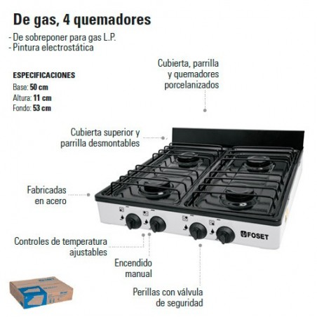 Parrilla de Gas 4 Quemadores