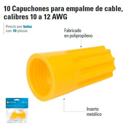 10 Capuchones para Empalme de Cable, Calibres 10 a 12 AWG