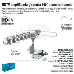 Antena HDTV Amplificada Giratoria 360º a Control Remoto