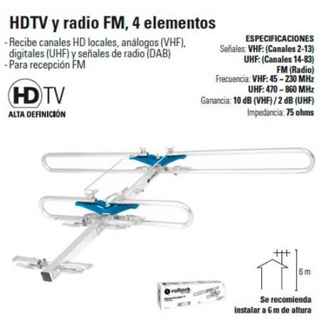 Antena HDTV y Radio FM 4 Elementos