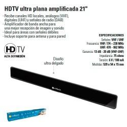 "Antena HDTV Ultra Plana Amplificada 21"""