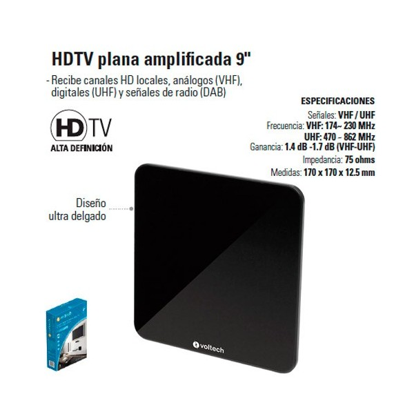 "Antena HDTV Plana Amplificada 9"""