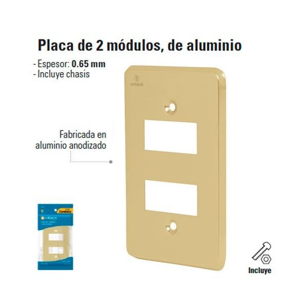 Placa de 2 Modulos de Aluminio