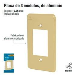 Placa de 3 Modulos de Aluminio