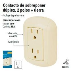 Contacto de Sobreponer Duplex 2 Polos + Tierra