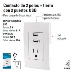 Contacto de 2 Polos + Tierra con 2 Puertos USB