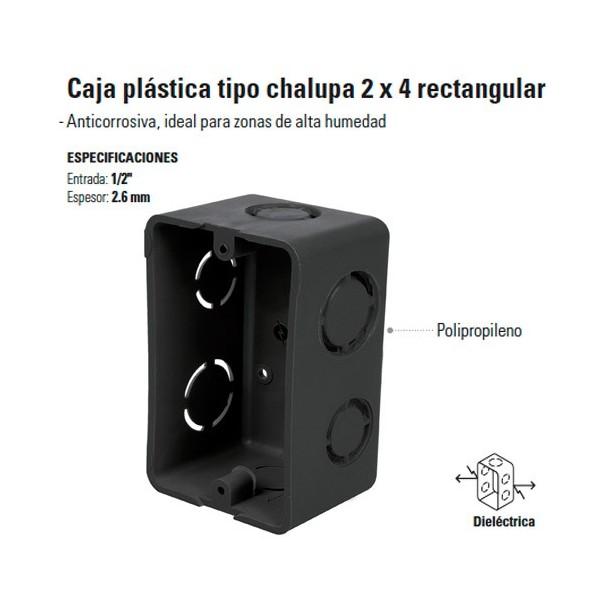 Caja Plastica tipo Chalupa 2 x 4 Rectangular