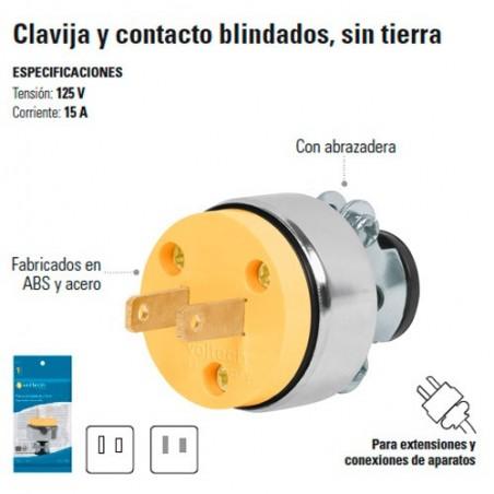 Clavija y Contacto Blindados sin Tierra