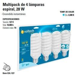Multipack de 4 Focos Espiral Ahorradores, 28 W