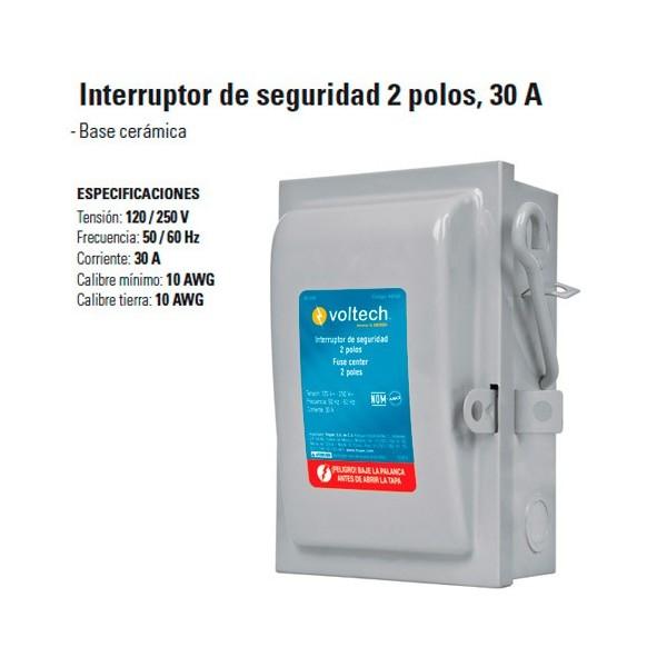 Interruptor de Seguridad 2 Polos 30 A