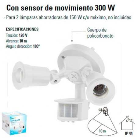 Luminario Blanco para Intemperie 300 W con Sensor de Movimiento