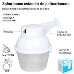 Luminario Suburbano 45 W de Policarbonato y Poliestileno