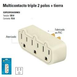 Multicontacto Triple 2 Polos + Tierra
